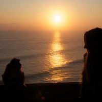 Samen met een aap naar de zondsondergang op Bali kijken.