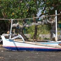 Vissersbootje, met vis, op het strand van Bali.