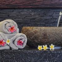 De handdoeken in de vakantievilla op Bali worden zeer regelmatig verschoond.